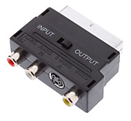 Scart 21-Pin Male to S-Video + 3 RCA Female Adapter Black