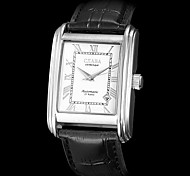 Men's Mechanical Calendar Function White Rectangle Dial PU Band Analog Wrist Watch