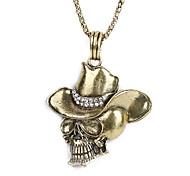 Cobre antiguo del cráneo del Rhinestone del patrón del collar KL12