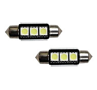 3-SMD Error Free 6418 C5W LED Bulbs For European Cars License Plate Lights Xenon White