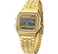 Men's Watch Dress Watch Multi-Function Square Digital LCD Dial Alloy Band  Wrist Watch Cool Watch Unique Watch