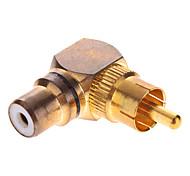 RCA Male to Female AV Adapter 90 Degree Gold-Plated