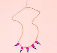 Korean Fashion Jewelry Enamel hit the color triangle necklace (random color)
