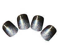 YeManNvYou®24PCS Dark Blue Gradient Sliver Powder Full Cover Nail Tips