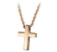 Ms subiu itens de aço de titânio banhado a ouro cruz