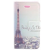 Retro Paris Eiffel Tower Design PU Protective Case with Card Slot for iPhone 4/4S