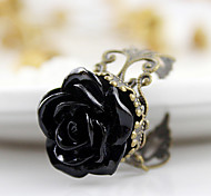 Black Rose Flower Open Ring