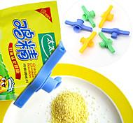 saco selo alimentos clipe com botão da tampa (cor aleatória) selagem