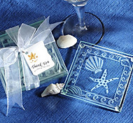 White Glass Square Coasters