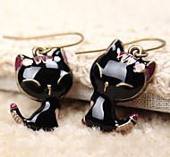 Women's 2013 Black Enamel cute little cat alloy earring E294