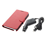 Leather Wallet Case en auto-oplader voor de Samsung Galaxy Note 2 N7100
