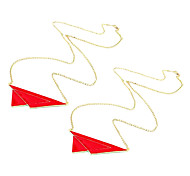 Europe and exaggerated abstract triangle metal Fashion Enamel wild sweater chain N464