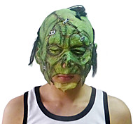 Scar Green Face Mask with Head Cover for Halloween Costume Party