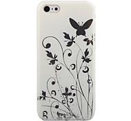 Flor e PC rígido de volta caso da borboleta para iPhone 5C (cores sortidas)
