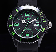 InTimes Men's Calendar Function Round Dial Black Silicone Band Quartz Analog Wrist Watch (Assorted Colors) Cool Watch Unique Watch