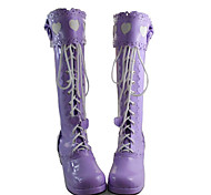 Handmade Purple PU Leather 4.5cm High Heel Sweet Lolita Boots