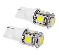2 Pz T10 1.5W 5x5050SMD 100-120LM 6000K Cool White LED Light Bulb (12V)
