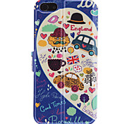 UK Bus modello PU Caso Full Body con slot per schede e Stand per iPhone 5/5S