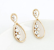 Shiny Diamond Eight Shape Stud Earrings