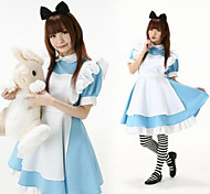 Cute Sweet Blue and White Polyester Maid Suit
