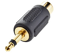 3.5mm macho a RCA hembra adaptador Composite Negro para Musical