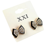 (1 Pc) Fashion Super Cute Fabric Bowknot Stud Earrings