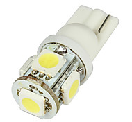Media T10 2W 50LM 5-SMD LED Car White Light Bulbs - Pair (DC 12V)-LEDD004T10A5S1