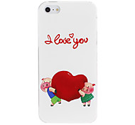 Cute Cartoon Pig Carrying Heart Pattern PC Hard Case for iPhone 5/5S