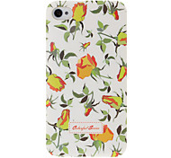 Yellow Rose Pattern Plastic Hard Case for iPhone 4 4S