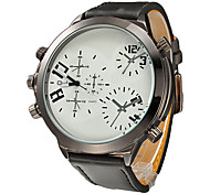 Men's Multi-Function Round Dial PU Band Quartz Analog Wrist Watch Cool Watch Unique Watch