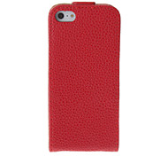 Retro Style Red Protective Flip Open PU Full Body Case for iPhone 5/5S