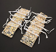 Rectangle Printing Jewellry Bag*10 White+Golden