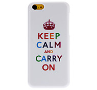 "Simple Designed Cute Crown and ""KEEP CALM And CARRY ON"" Pattern Hard Case for iPhone 5C"