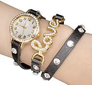 Quadrante bianco AMORE pu banda quarzo analogico orologio da polso da donna