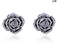 Lureme®Full Crystals Rose Stud Earrings(Assorted Color)