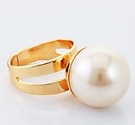 u7® esfriar 18k banhado a ouro big anéis de pérola 18 milímetros para homens / mulheres com caixa de presente