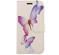 Purple Butterfly Drawing Pattern Faux Leather Hard Plastic Cover Pouches for Samsung Galaxy S3 I9300
