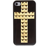 Funda Dura con Cruz de Ribetes Dorados para iPhone 4/4S (Varios Colores)