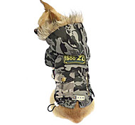 Dog Coat / Hoodie Green / Gray Dog Clothes Winter Camouflage