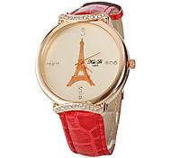 Torre Eiffel teste padrão do diamante caso clássico PU banda analógica quartzo relógio de pulso das mulheres de ouro (cores sortidas)