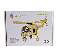Solar Powered DIY Wooden Beige Puzzle Helicopter Toy