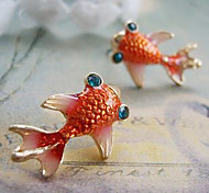 Love Fashion European And American Retro Cute Little Goldfish Red Glaze Diamond Earrings E108