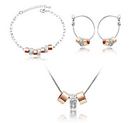 Multicircle Golden Earrings & Necklace Jewelry Set