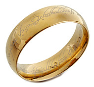 Gold Titanium Steel Band Ring with Lord of the Ring Design Laser Engraving