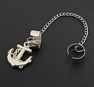 (1 pc)Vintage Anchor Silver Stainless Steel Clip Earrings