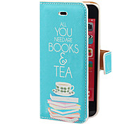 Fulfilling Leisure Life Pattern PU Full Body Case with Card Slot and Stand for iPhone 5C