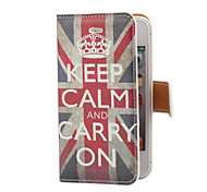 Vintage Keep Calm and Carry On Pattern PU Leather Case with Card Slot and Stand for iPhone 4/4S