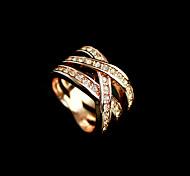 Weave Golden Crystal Ring
