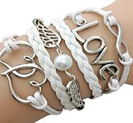 European 7Cm Women'S White Fabric Wrap Bracelet(White)(1 Pc)