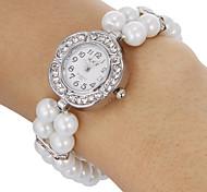 Da Mulher Diamante Flower Pattern Peal banda quartzo analógico pulseira relógio